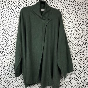 Bryn Walker Dark Green Linen Greta Jacket Size L